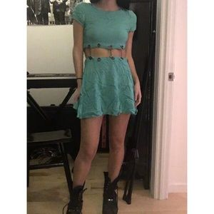 Turquoise Cut-Out Chain T-Shirt Dress